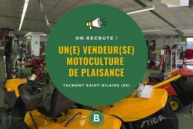 On recrute un poste de vendeur(se) en motoculture de plaisance